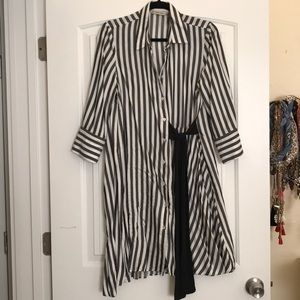 Zara stylish striped dress with black tie.